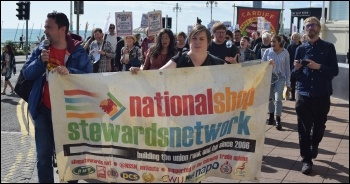 The NSSN in Brighton lobbying the TUC, 8.9.19. A report will be posted soon. photo by Mary Finch
