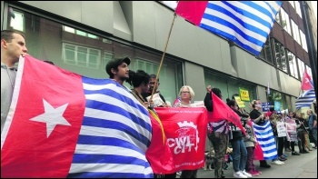 West Papuan protest outside Indonesian embassy on 7 September, photo James Ivens