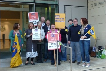 Marion Lloyd (second left) on strike with fellow workers and PCS members, photo Marion Lloyd for PCS GS