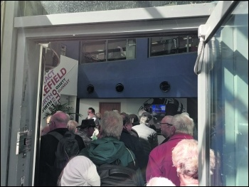 Pensioners occupy Leeds BBC office in protest at TV license attack, photo Iain Dalton