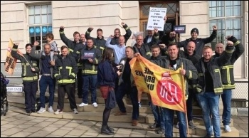 South Yorkshire firefighters celebrate winning a halt to cuts after a hard-fought campaign. September 2019