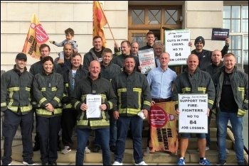 Firefighters and supporters celebrating their victory against the South Yorkshire fire cuts, 16.9.19