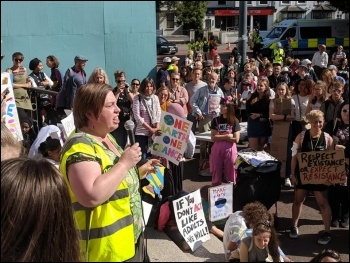 Socialist Party member Katrine Williams, president of Cardiff Trade Union Council chairs the Cardiff rally