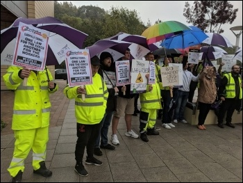 Caerphilly bin workers protest October 2019, photo Dave Reid