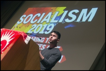 Theo speaking at Socialism 2019, London 2-3 November, photo Paul Mattsson