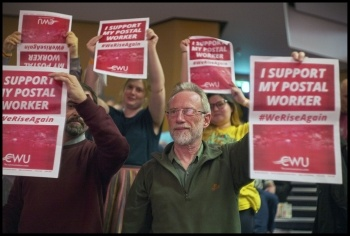 Supporting the postal workers at Socialism 2019, London 2-3 November, photo Paul Mattsson