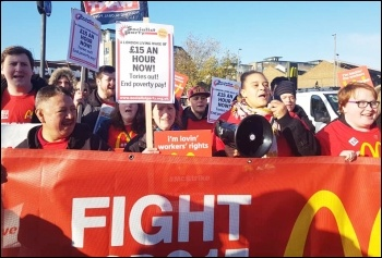 Wandsworth Town McDonald's strike protest, one of six sites in South London taking action on 12.11.19. Photo Isai Priya