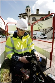 BT Openreach internet engineer at work, photo BT/Johnnie Pakington/CC