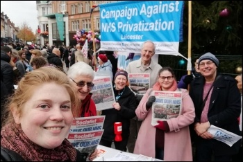 Socialist Party members on the demonstration to save Leicester General Hospital, 16.11.19, photo Leicester Socialist Party