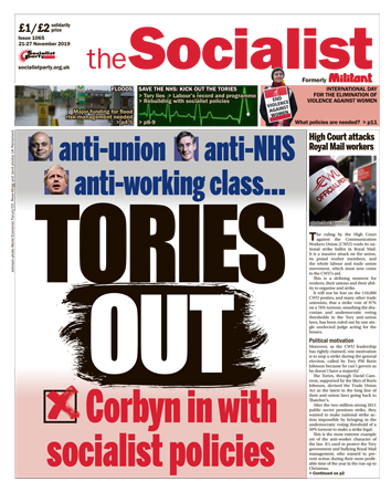 The Socialist issue 1065 front page: Tories out