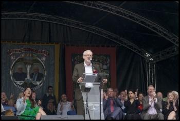 Corbyn at Durham Miners Gala 2019, photo Paul Mattsson
