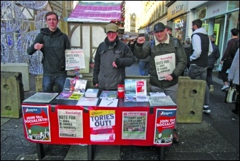 Selling the Socialist in Newcastle, photo Elaine Brunskill