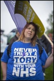 Anti-Tory demonstrator, photo Paul Mattsson
