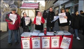 Post-election Saturday stall in Newcastle, photo Elaine Brunskill