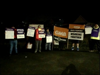 Carmarthenshire winter gritters in Unison and GMB on strike December 2019, photo Carms Unison