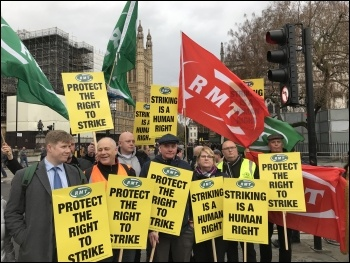 RMT union members demonstrating against Johnson's threat to the right to strike, London 19.12.19, photo JB
