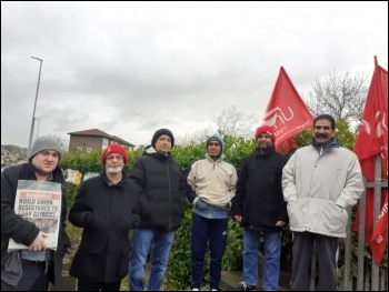 Picket line on 14 January, photo Bradford Socialist Party