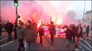 French workers demonstrating in Paris on Thursday 16 January 2020; now over 40 days of strike action have been taking  place against the governments attacks on pensions.