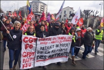 France pensions strike, local demonstration in Noisy-le-Grand, 17.1.2020, photo James Ivens