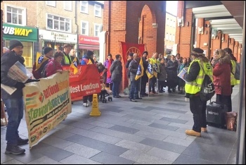 PCS union strike at Ealing tax office, 15.1.20, photo London Socialist Party