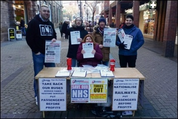 South Yorkshire Socialist Party campaigning on bus and rail services, photo by South Yorkshire Socialist Party