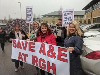 Lobby against the closure of Royal Glamorgan A&E, photo Dave Reid