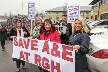 Lobby against the closure of Royal Glamorgan A&E, photo Dave Reid , photo Dave Reid