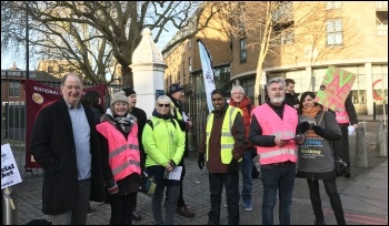 Fighting government cuts: Picket line at City & Islington sixth form, London, 12.2.20