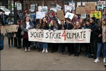 Climate strikers in Sheffield, 14.2.20, photo by Sheffield Socialist Party