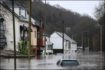 Flooding in Nantgarw, South Wales, photo by Elliot Pitt/Twitter/CC