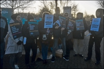 NEU strikers at Havering in east London, 12.2.20, photo by Ian Pattison