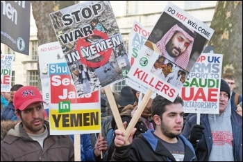 Protesters in London demanding an end to UK arms sales to Saudi Arabia, photo by Alisdare Hickson/CC