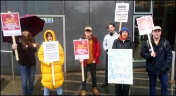 Socialist Students in Sheffield supporting the strike of University and College Union (UCU) staff, 20.2.20, photo by Sheffield SP