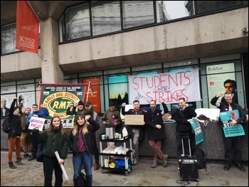 UCU strikers, students and RMT transport union members on a picket line together at King's College London, photo Gary Harbord