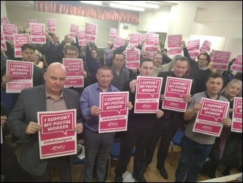 Solidarity to the CWU postal workers' dispute, at a NSSN meeting, February 2020