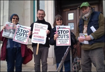 Southampton Socialist Party members and trade unionists protest against cuts