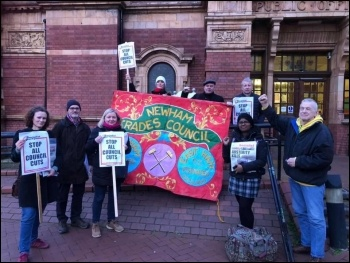 Lobby against Newham council cuts March 2020, photo East London Socialist Party