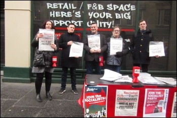 Newcastle Socialist Party campaign stall 7 March