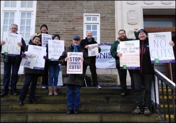 Lobbying Carmarthenshire council against cuts March 2020