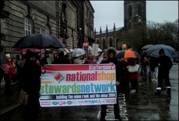 Protesting agains the cuts in Stoke