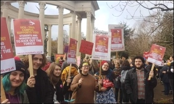 Cardiff Socialist Students supporting the University and College Union (UCU) strike, March 2020