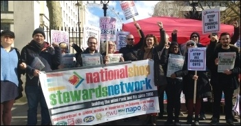 Socialist Party members, NSSN supporters and others protesting in central London on Budget Day, 11 March 2020