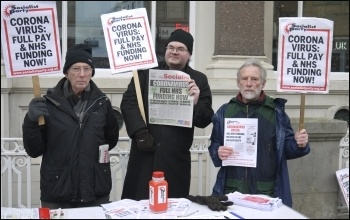 Socialist Party stall in Carlisle, March 2020