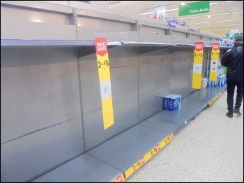 Shelves cleared by profit-hungry supermarkets permitting uncontrolled panic buying