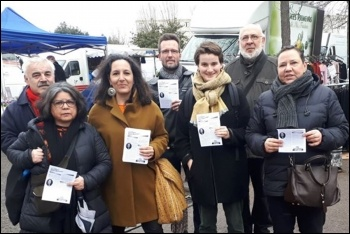 Décidons Petit-Quevilly candidates in Rouen, including elected councillor Leïla Messaoudi (third from left), photo by Gauche Révolutionnaire (CWI France)