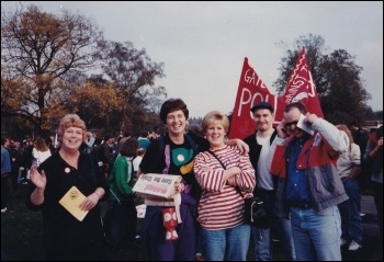 Elaine (second left) with fellow campaigners on one of the many anti-poll tax demos that year