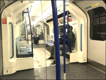 Victoria line tube train, March 2020