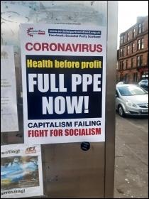 Poster on display, April 2020, photo SP Scotland