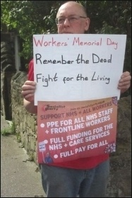 On workers' memorial day, 28.4.20, in Newcastle, photo Elaine Brunskill