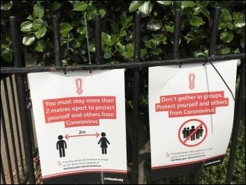 Park notices during coronavirus lockdown, London, 10.5.20, photo JB